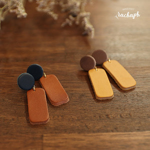 라하프 쉐입 오브 가죽 귀걸이 [rachaph Italy vegetable leather shape earring]